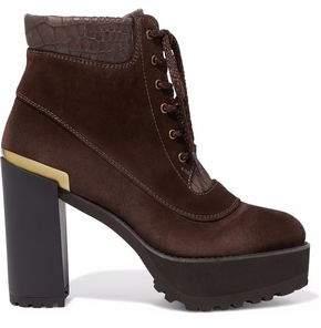 Stuart Weitzman Nubuck And Croc-Effect Leather Platform Ankle Boots