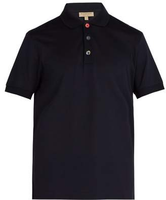 Burberry Multicoloured Button Cotton Pique Polo Shirt - Mens - Navy