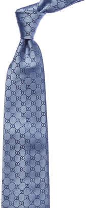 Gucci Blue Interlocking G Logo Silk Tie