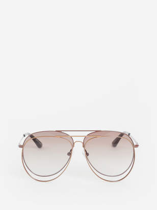 Bless BROWN N44 DOUBLE AVIATOR SUNGLASSES