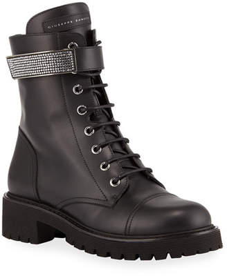 Giuseppe Zanotti Leather Combat Boots with Jewel Strap