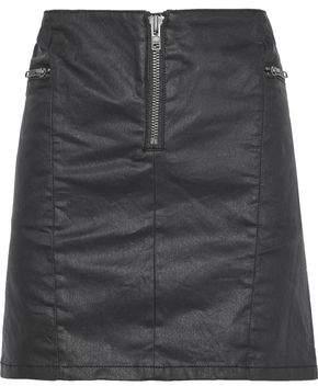 Rebecca Minkoff Emery Zip-detailed Coated-denim Mini Skirt