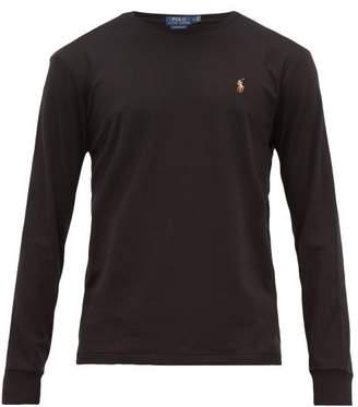 Polo Ralph Lauren Logo Embroidered Cotton Long Sleeved T Shirt - Mens - Black