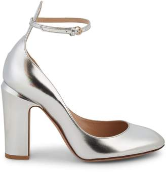Stuart Weitzman Valentino Garavani Metallic Leather Ankle-Strap Pumps
