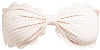 Marysia Swim Antibes Scallop Edge Gingham Bandeau Bikini Top - Womens - Light Pink