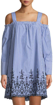 Neiman Marcus Embroidered Cold-Shoulder Shift Dress