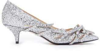 No.21 No. 21 - Bow Embellished Glittered Leather Pumps - Womens - Silver
