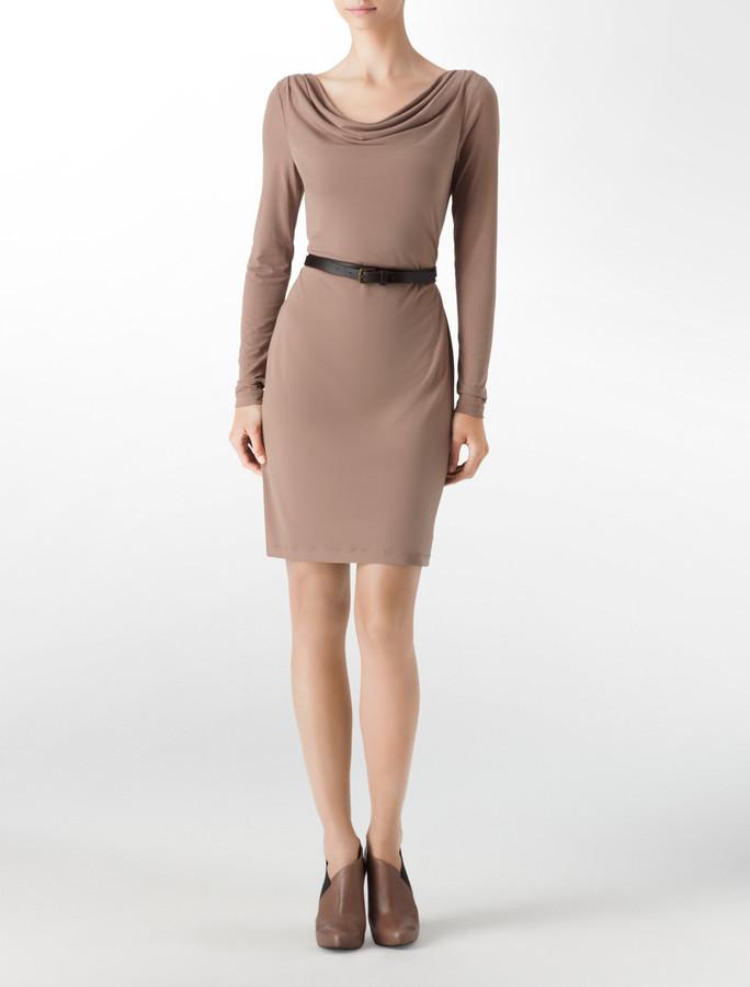 Calvin Klein Cowlneck Belted Sheath Dress