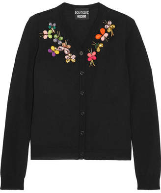 Boutique Moschino - Crystal-embellished Wool Cardigan - Black $750 thestylecure.com
