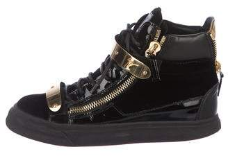 Giuseppe Zanotti Zip Accent Velvet High-Top Sneakers