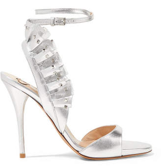 Valentino Garavani Studded Ruffled Leather Sandals - Silver