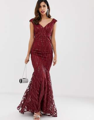 5236941278 City Goddess all over lace and sequin fishtail maxi dress
