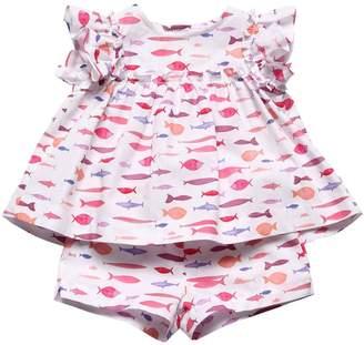 Il Gufo Fish Print Poplin T-Shirt & Shorts