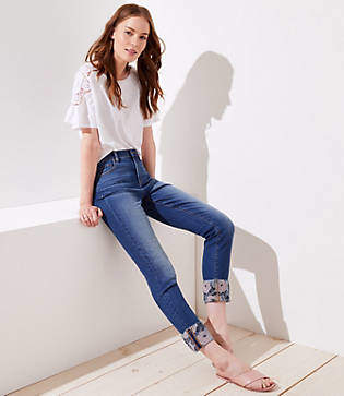 LOFT Embroidered Floral Cuff Skinny Crop Jeans in Stonewash