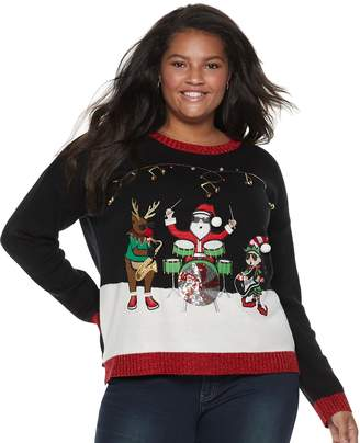 It's Our Time Its Our Time Juniors' Plus Size Musical Trio Christmas Sweater