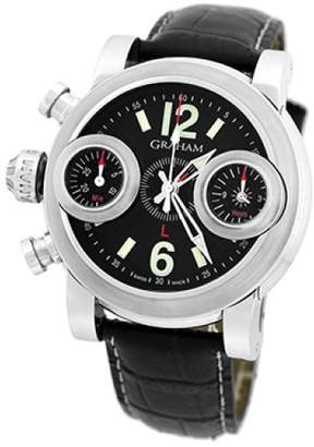"Sword Fish Graham "" Swordfish"" Stainless Steel & Leather Automatic 46mm Mens Watch"