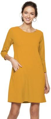 Women's Nina Leonard Crepe Trapeze Dress