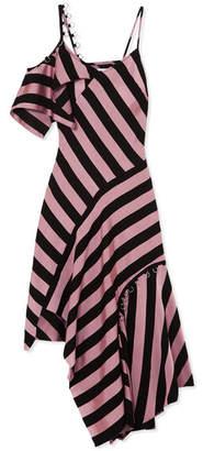 Marques Almeida Marques' Almeida Asymmetric Embellished Striped Satin-twill Midi Dress