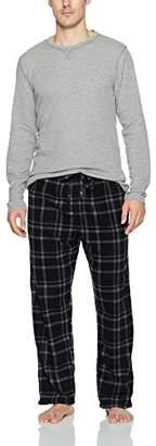 Hanes Men's Micro Fleece Pant Set with Waffle Top
