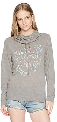 Disney Women's Digital Wave Graphic Long Sleeve Cowls Top