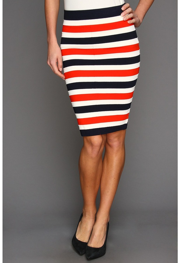 Juicy Couture Atlantic Stripe Full Milano Pencil Skirt (Siren/Angel/Regal Stripe) - Apparel