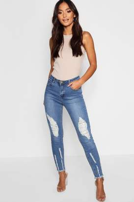 boohoo Petite Frayed Detail Skinny Jean