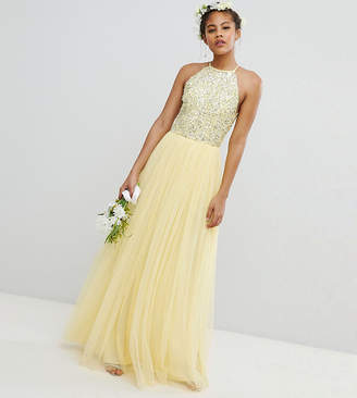 Maya Tall Halterneck Delicate Sequin Detail Tulle Maxi Dress