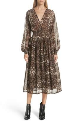 Nili Lotan Brienne Leopard Print Silk Chiffon Dress