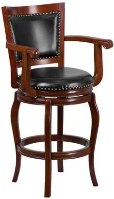 Generic Flash Furniture 30'' High Cherry Wood Barstool with Black Leather Swivel Seat