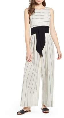 2c163db0e009 THE ODELLS Stripe Wide Leg Cotton Jumpsuit