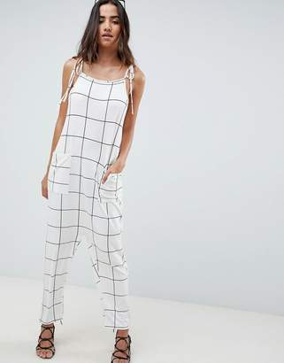 Asos Design Jumpsuit Minimal With Ties In White Check