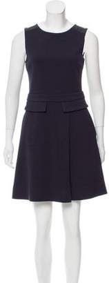 Marc by Marc Jacobs Leather-Trimmed Wool-Blend Dress