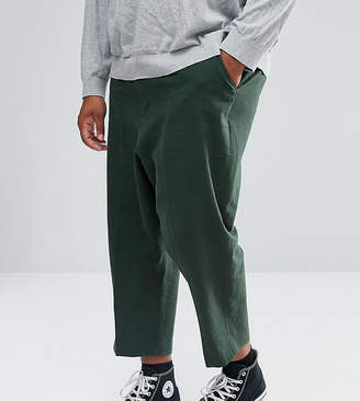 Asos Design PLUS Drop Crotch Tapered Smart Pants In Dark Green Textured Linen Blend