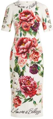 Dolce & Gabbana L'amore E Bellezza Peony Print Cady Midi Dress - Womens - White Multi