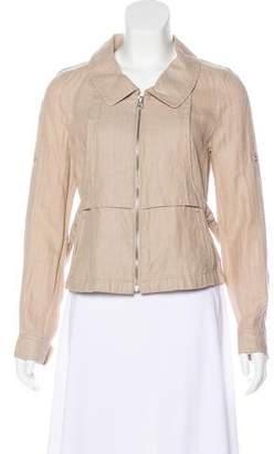 Armani Exchange Linen-Blend Zip-Up Jacket