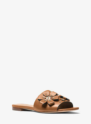 Michael Kors Tara Floral Embellished Leather Slide