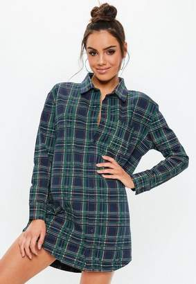Missguided Navy Plaid Oversized Jersey Shirt Dress