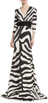 V-Neck Zebra-Stripe Trumpet Gown w/ Lace Band