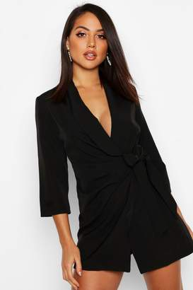 boohoo Wrap Front Detail Blazer Dress