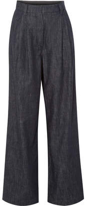 Brunello Cucinelli Embellished Striped High-rise Wide-leg Jeans - Navy