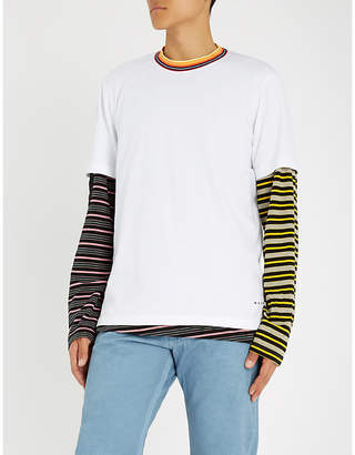 Marni Striped-collar cotton-jersey T-shirt