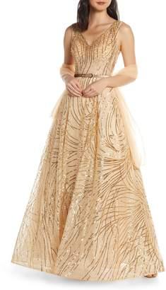 Mac Duggal Cat Tail Sequin V-Neck Prom Dress