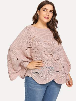 Shein Plus Loose Knit Batwing Sweater