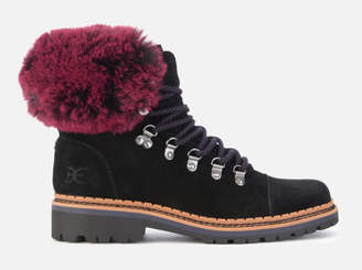 9997221bc4fd2c Sam Edelman Women s Bowen Velutto Suede Hiker Style Boots - Black Raspberry  Wine