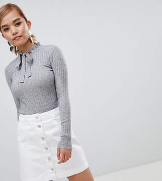 Fashion Union Petite Slim Fit Sweater With Tie Neck