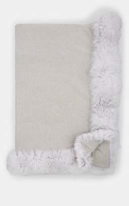 Arabella Rani Fur-Detailed Cashmere Throw - Silver