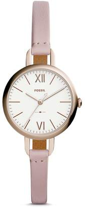 Fossil Women's 'Annette' Quartz Stainless Steel and Leather Casual Watch, Color: (Model: ES4360)