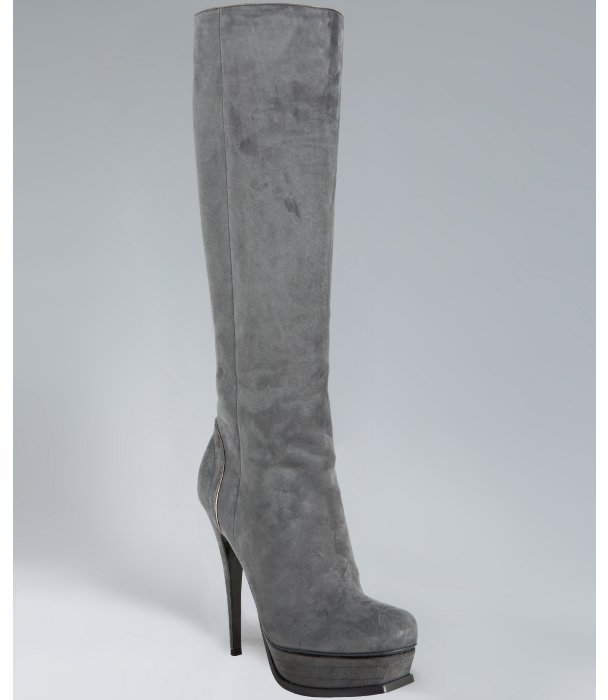 Yves Saint Laurent grey suede 'Tribute 105' tall platform boots