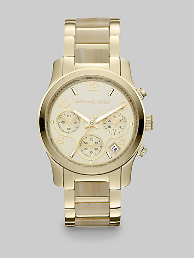 Michael Kors Runway Goldtone and Faux Horn Chronograph Bracelet Watch
