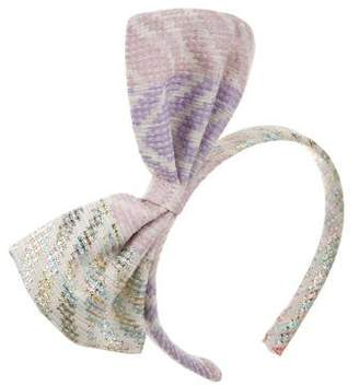 No Added Sugar Girls' Bow-Accented Brocade Headband w/ Tags